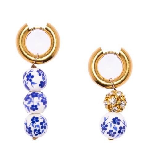 Timeless Pearly White Blue Gold Hoop Earrings