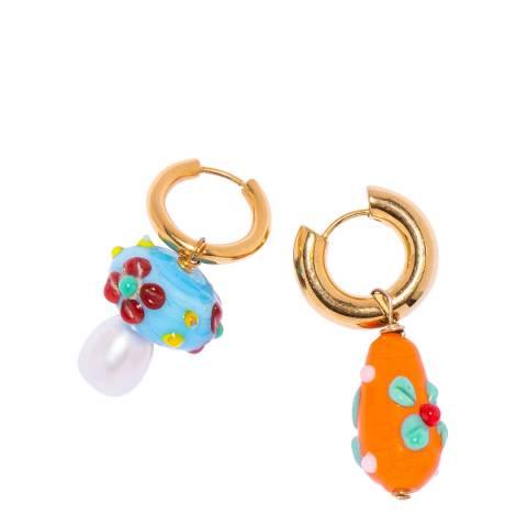 Timeless Pearly Blue Orange Mix & Match Hoop Earrings