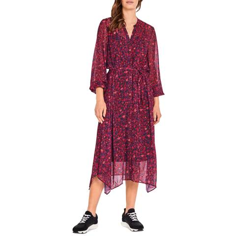 hush Pink Floral Roxy Chiffon Midi Dress