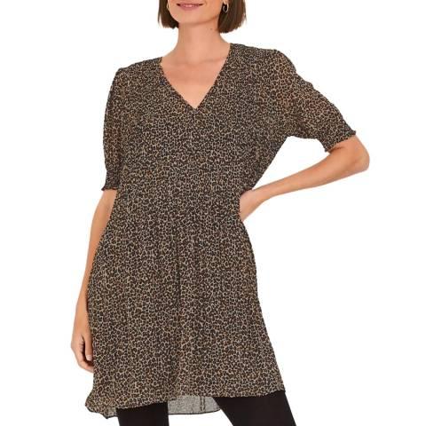 hush Multi Leopard Pepa Pleat Mini Dress