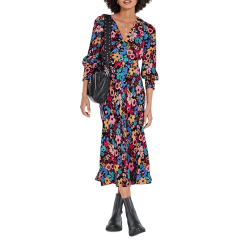 hush Multi Floral Amabel Plunge Midi Dress