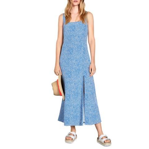hush Blue Printed Surin Panelled Tea Dress