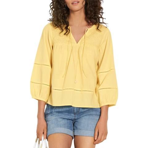 hush Yellow Odilon Smocked Top