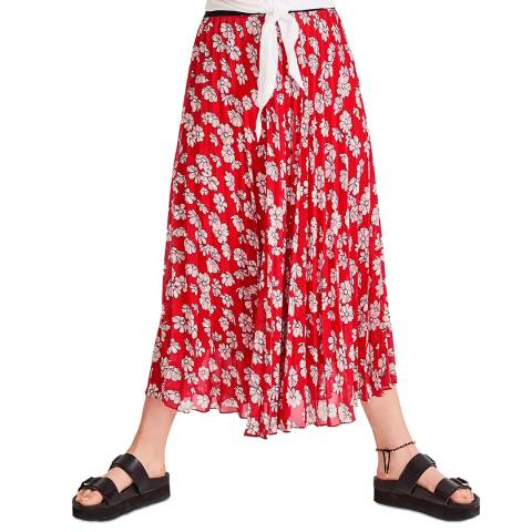 hush Red Floral Ossie Pleated Midi Skirt