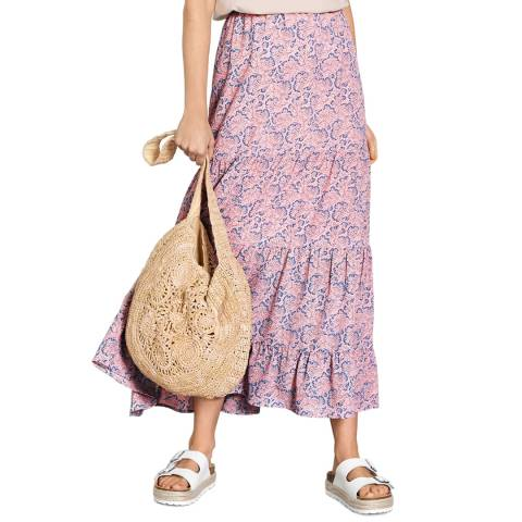 hush Pink Printed Ozias Frill Hem Skirt