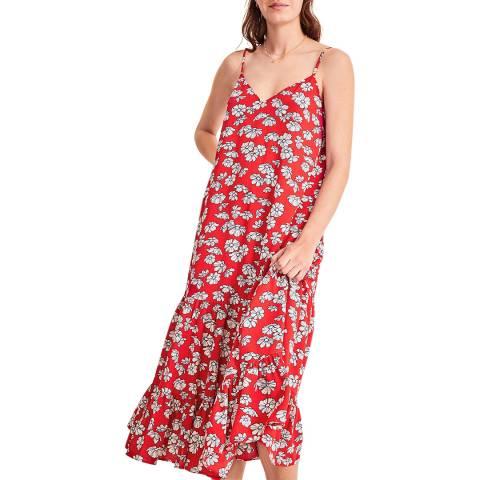 hush Red Floral Luisa Frill Midi Dress