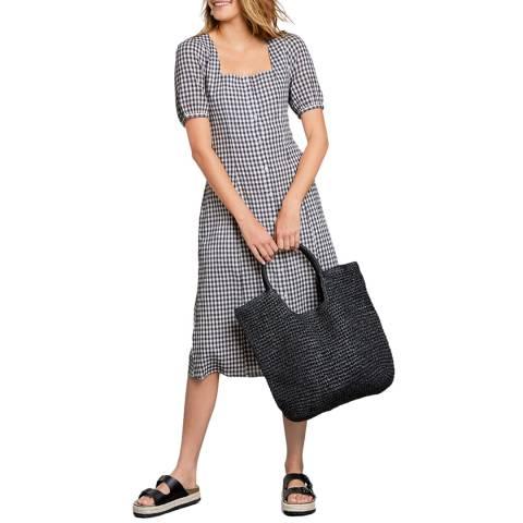 hush Check Square Neck Cotton Midi Dress