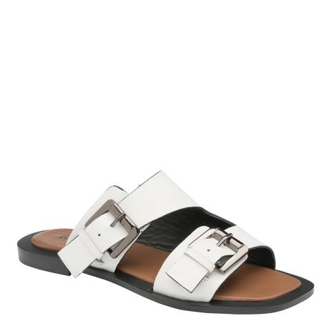 Ravel White Kintore Leather Mule Sandals