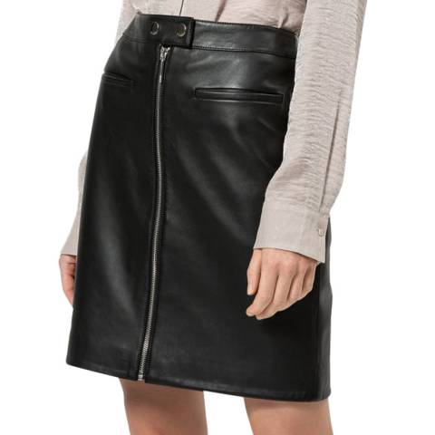 HUGO Black Latessa A-Line Leather Skirt