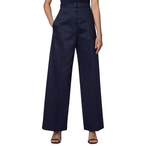 BOSS Navy Tilwide Wide Leg Stretch Trousers
