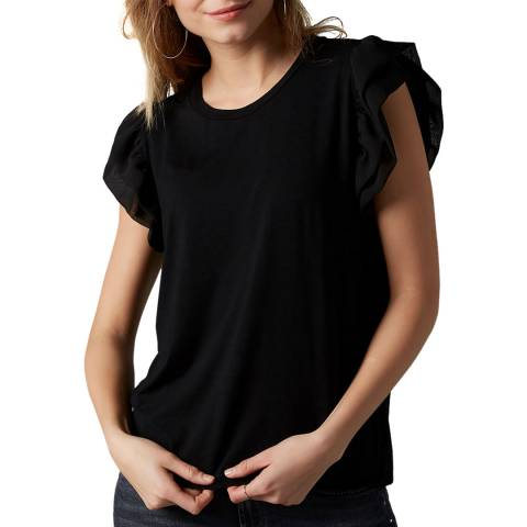 7 For All Mankind Black Ruffles Sleeve T-Shirt