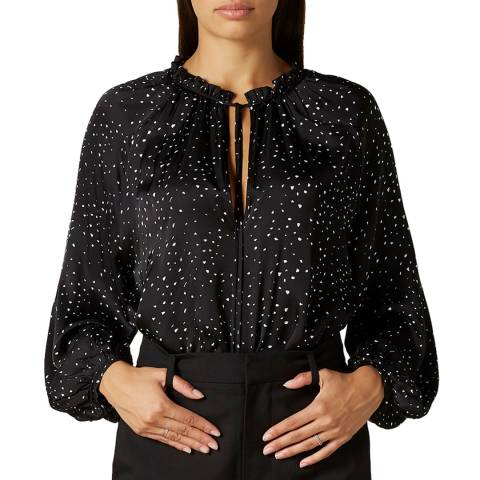 7 For All Mankind Black Jacquard Ditsy Blouse
