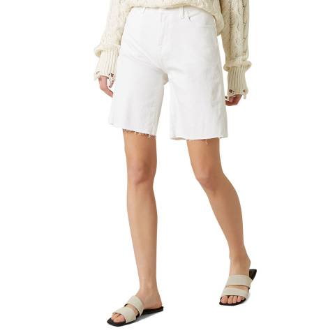 7 For All Mankind White Easy Pure Raw Cut Stretch Shorts