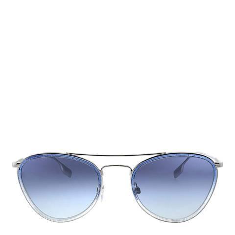 Burberry Women's Silver/Blue Sunglasses 51mm