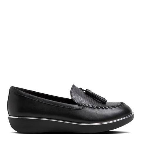 FitFlop Black Leather Petrina Lizard-Embossed Moccasin Loafers