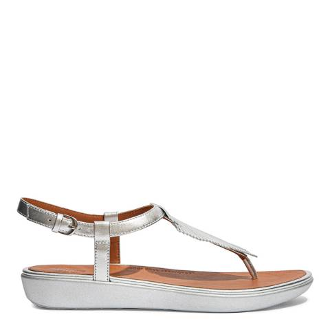 FitFlop Silver Leather Tia Feather Toe-Post Sandals