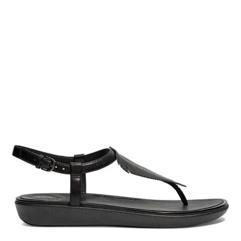 FitFlop All Black Leather Tia Feather Toe-Post Sandals