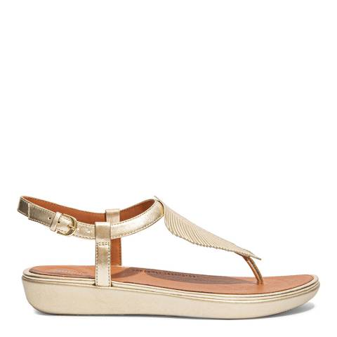 FitFlop Gold Leather Tia Feather Toe-Post Sandals