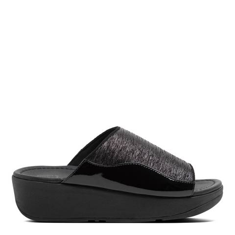 FitFlop All Black Myla Glitz Slide Sandals