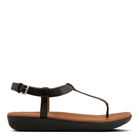 FitFlop Black Leather Tia Toe-Post Sandals