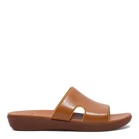 FitFlop Light Tan H-Bar Pop Binding Slide Sandals