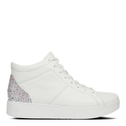 FitFlop Urban White Leather Rally Glitter High Top Sneakers