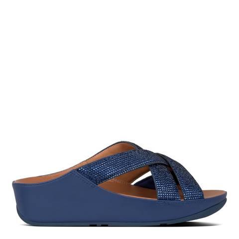 FitFlop Aurora Blue Lattice Crystal Toe-Post Sandals