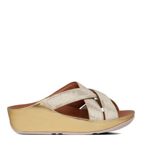 FitFlop Vintage Gold Lattice Crystal Toe-Post Sandals