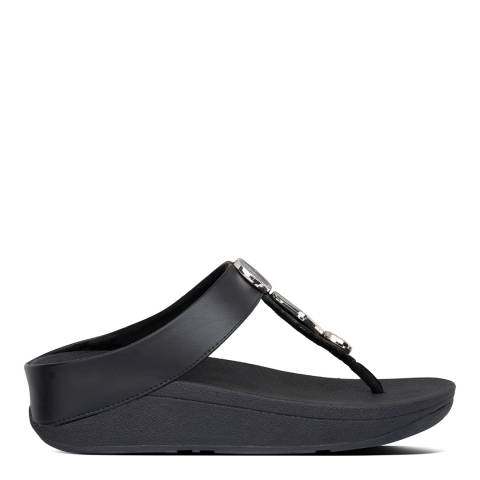 FitFlop All Black Leather Leia Snake Toe-Post Sandals