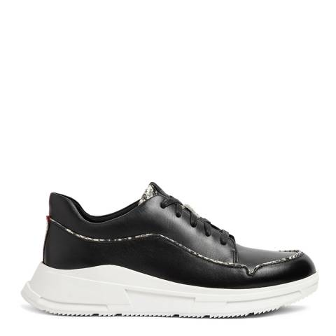 FitFlop Black Leather Freya Exotic Mix Sneakers