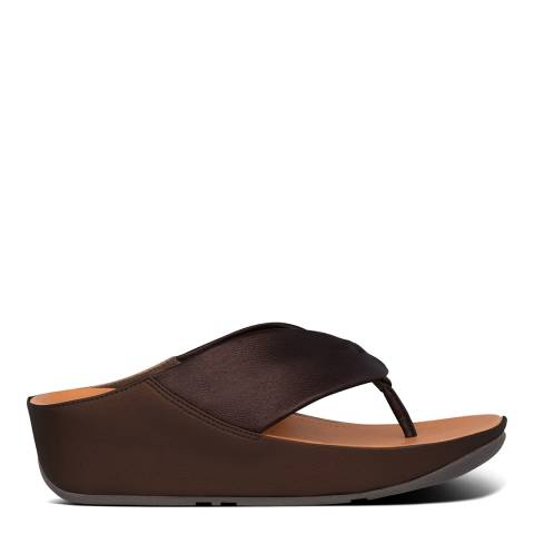 FitFlop Chocolate Metallic Leather Twist Toe-Post Sandals