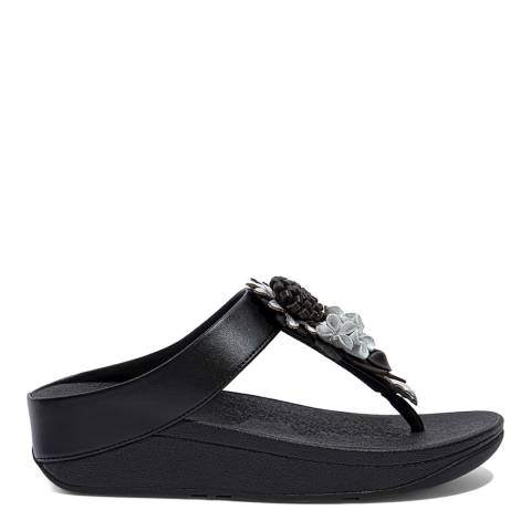 FitFlop Black Fino Flopal Cluster Toe-Post Sandals