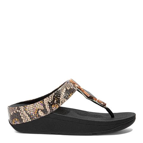 FitFlop Black Leather Snake Mix Leia Toe-Post Sandals