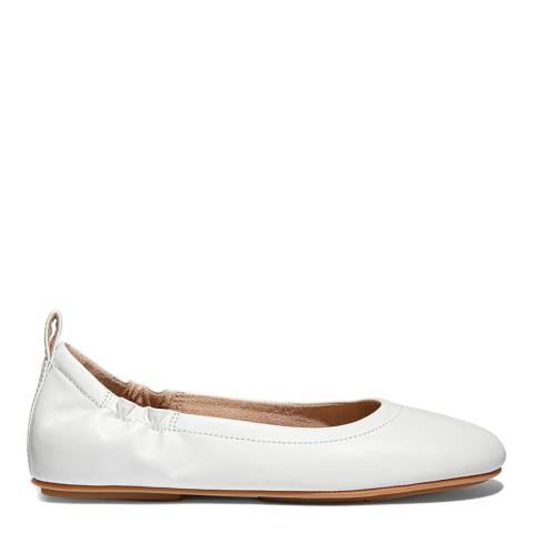FitFlop Urban White Leather Allegro Ballet Pumps