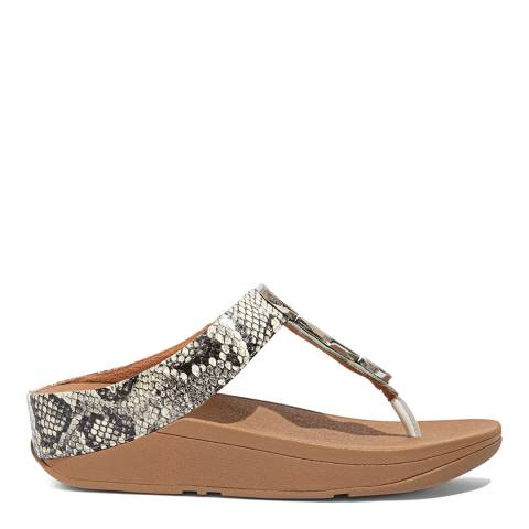 FitFlop White Leather Snake Mix Leia Toe-Post Sandals