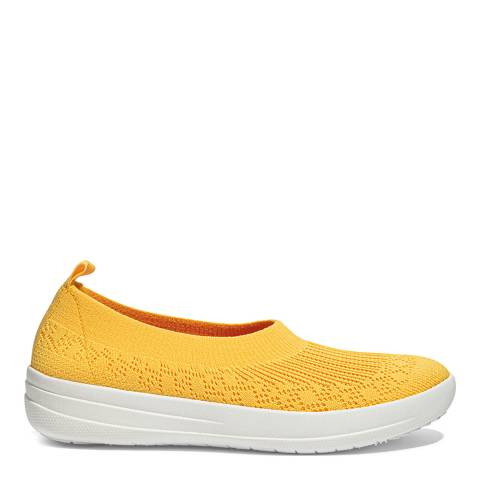FitFlop Sunshine Yellow Uberknit Slip on Ballerina