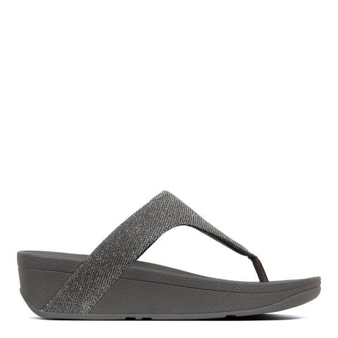FitFlop Pewter Leather Lottie Glitzy Toe-Post Sandals