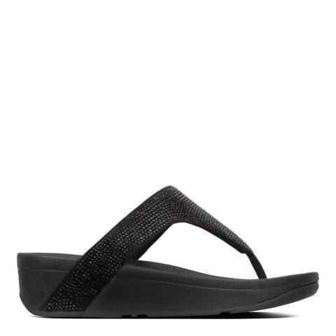 FitFlop Black Leather Lottie Shimmercrystal Toe-Post Sandals