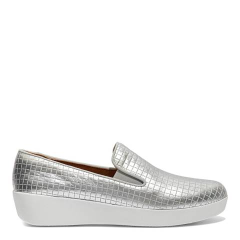 FitFlop Silver Leather Superskate Raffia Loafers