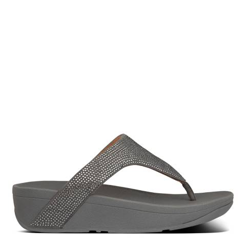 FitFlop Pewter Leather Lottie Shimmercrystal Toe-Post Sandals