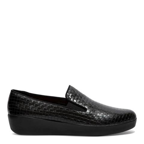 FitFlop Black Leather Superskate Raffia Loafers