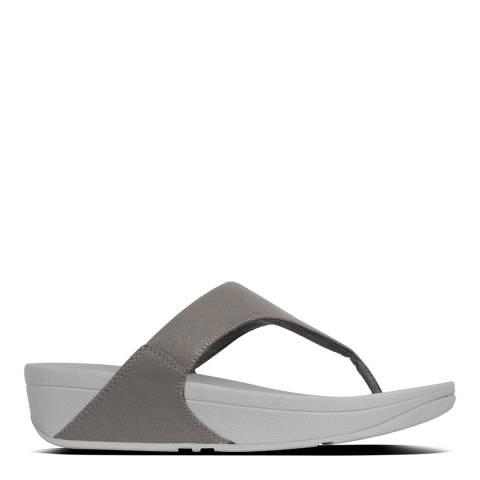 FitFlop Pewter Leather Lulu Shimmer Toe-Post Sandals