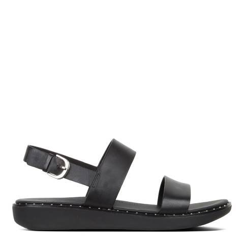FitFlop All Black Leather Barra Sandals