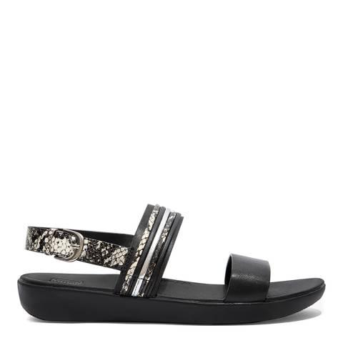 FitFlop Black Leather Snake Mix Barra Sandals