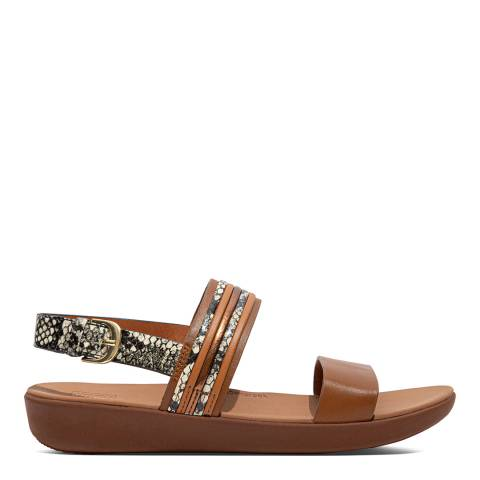 FitFlop Light Tan Leather Snake Mix Barra Sandals