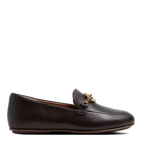FitFlop Brown Leather Sun Embellished Lena Loafers