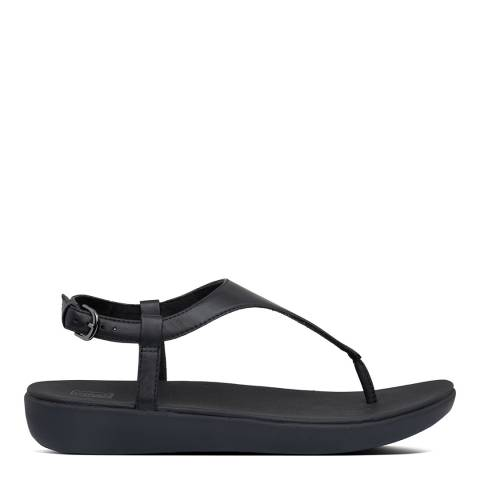 FitFlop All Black Leather Lainey Toe-Thong Sandals