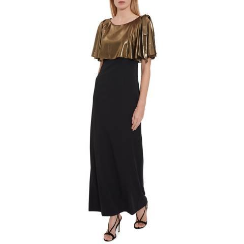 Gina Bacconi Black/Gold Brietta Crepe And Chiffon Maxi Dress