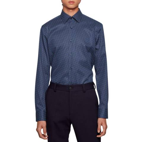 BOSS Navy Print Jango Cotton Shirt