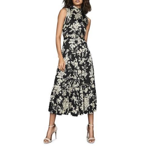 Reiss Black Briella Floral Midi Length Dress